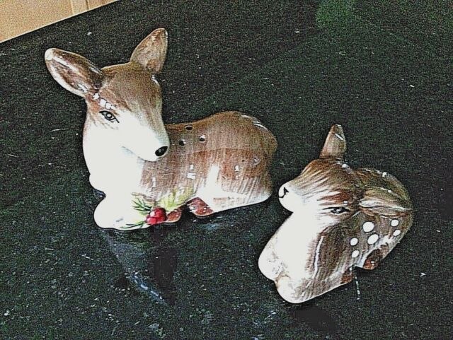 Salt Pepper Shaker Deer Fawn Figurines Set Ceramic Table Cruet Pots Dinnerware
