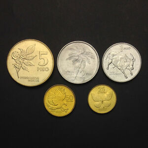 Philippines 1958-1966 5 Coins Uncirculated Set 1 5 10 25 50 Sentimos Asia Philippines