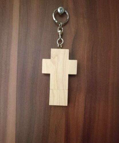 USB 2.0 Stick Holz Kreuz Schlüsselanhänger Konfirmation Kommunion Bilder Taufe