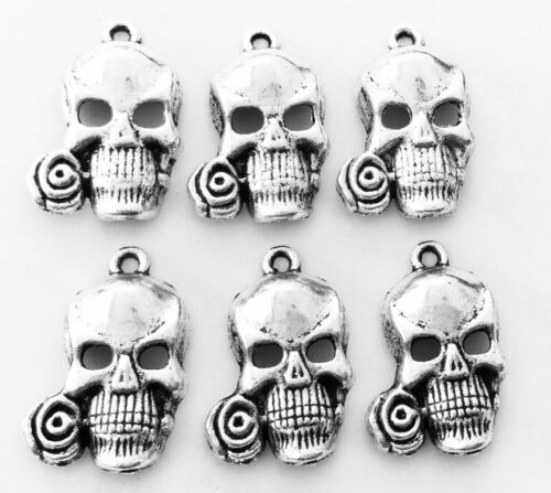 12PCS Antique silver plated skull charms