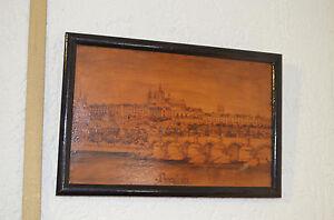 Altes Brandmalerei Gemälde Prag Um 1900 Detailgetreu Gefertigt