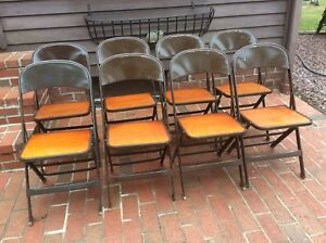 Image is loading 8-Same-CLARIN-MFG-CO-wood-Metal-Folding- & 8 Same CLARIN MFG CO wood / Metal Folding Chairs - Very Good | eBay