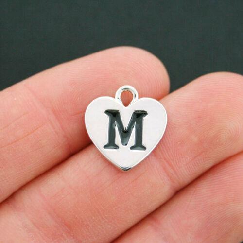 SC5325 4 Letter M Heart Charms Antique Silver Tone Alphabet Charm