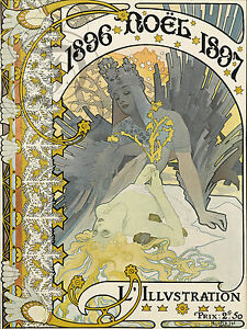 PLAQUE ALU DECO AFFICHE MUCHA 1896 NOEL 1897 ILLUSTRATION 2 FRANCS 50