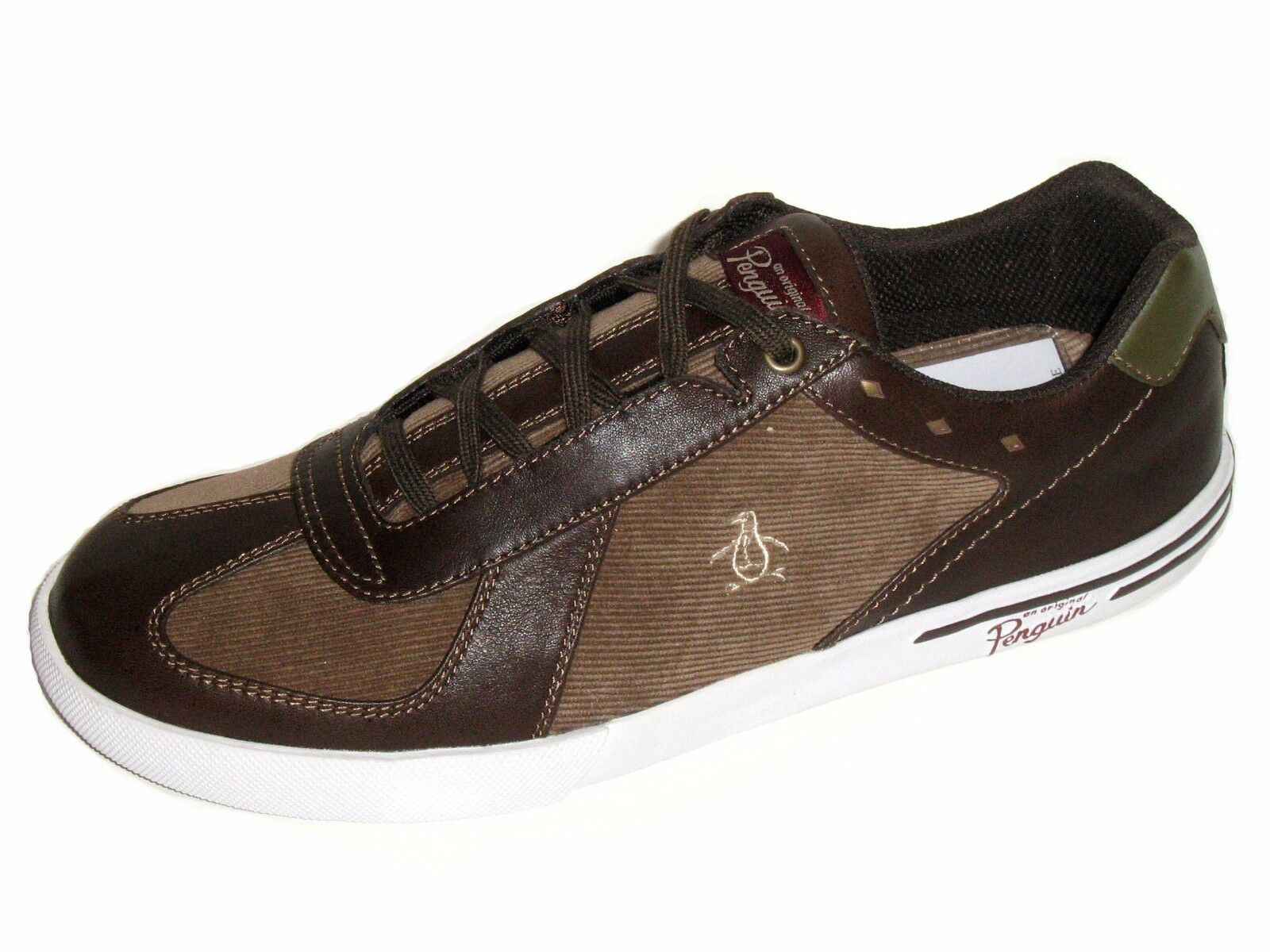 Original Penguin Men's shoes Mix Cord Lace Up Fashion Sneaker Dark Brown Size 9