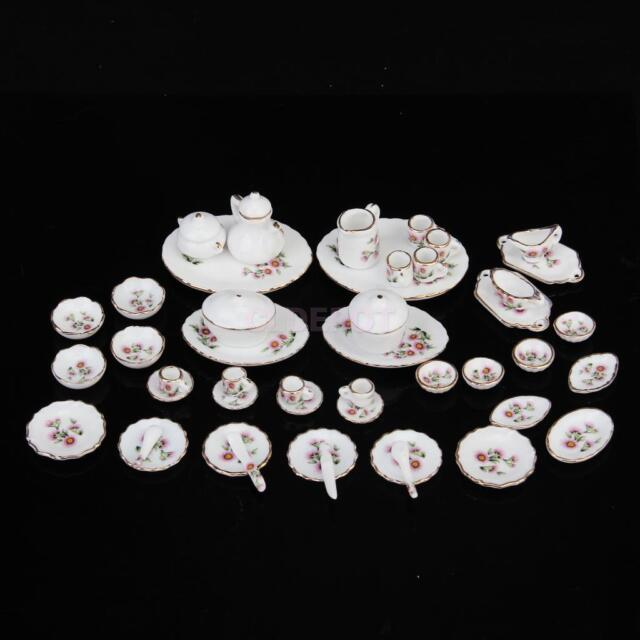 50pcs Doll House Mini Dining Ware Porcelain Tea Dinner Set Dish Cup Plate Pink