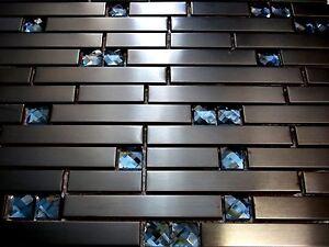 black diamant glasmosaik edelstahl mosaik fliese schwarz metall 8mm anthrazit ebay. Black Bedroom Furniture Sets. Home Design Ideas