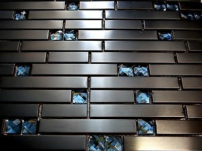 black diamant Glasmosaik Edelstahl Mosaik Fliese schwarz Metall 8mm anthrazit