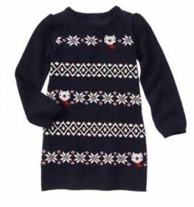 dcdb9f96c0f Gymboree Polar Bear Holiday Shop Girls Sweater Dress Nwt Fair Isle ...