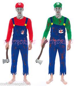 Op 210 Mens Costume Fancy Dress Halloween Zombie Super Mario Luigi
