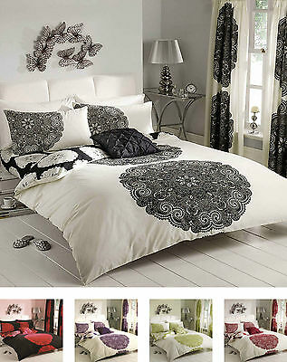 Manhatten Duvet Quilt Cover Bedding Set Single Double King With Pillow Case