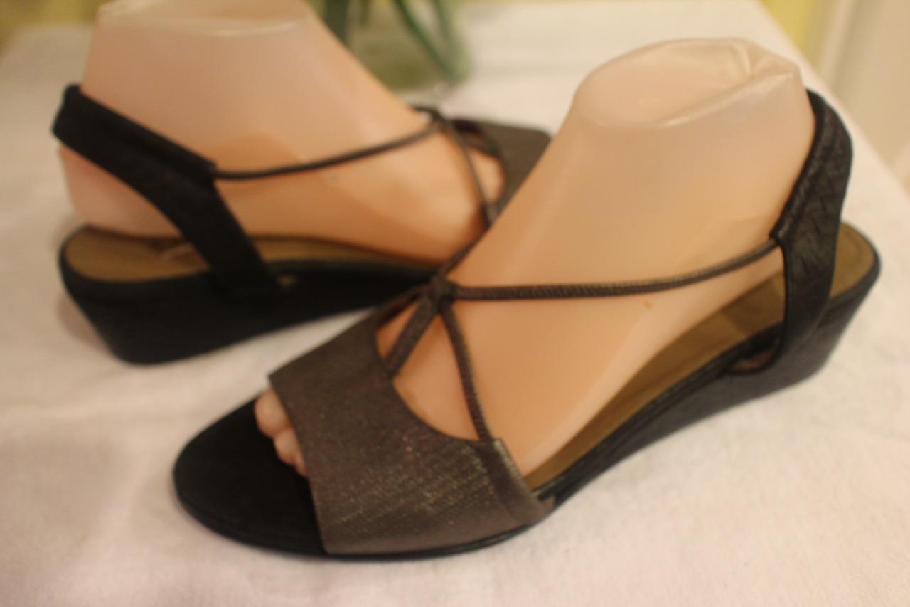 Anyi Lu Linda NAVY EMBOSSED  sandal shoe 40US 40US 40US 10 50f348