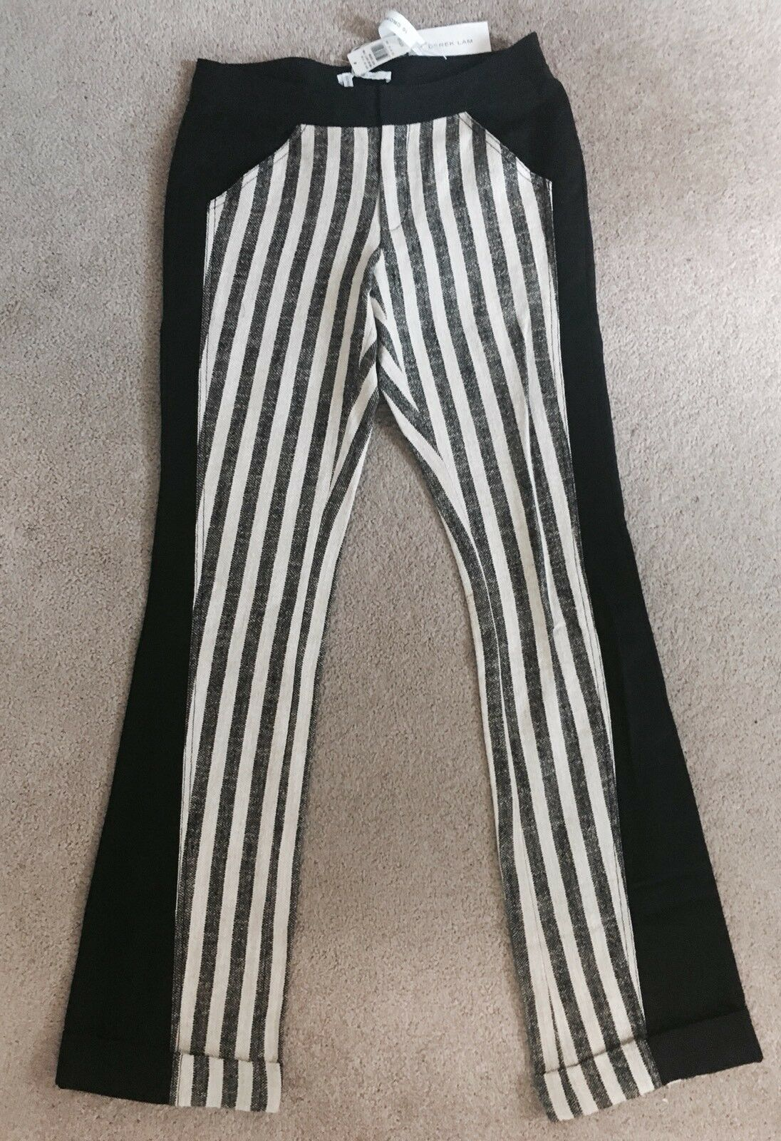 375 NWT Derek Lam 10 Crosby Cuffed Pants Linen Stripe Wool Trouser Sz Small