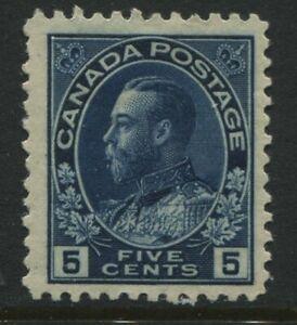 Canada-KGV-1912-5-cents-indigo-Admiral-scarce-single-mint-o-g