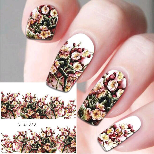 Nail Art Water Decals Stickers Decoration Winter Flowers Roses GEL ...