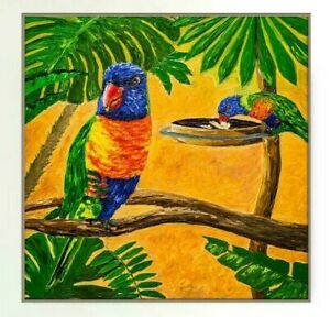 Parrots-Rainbow-Lorikeet-Australian-Tropical-Birds-Animal-Vibrant-Impasto-Square