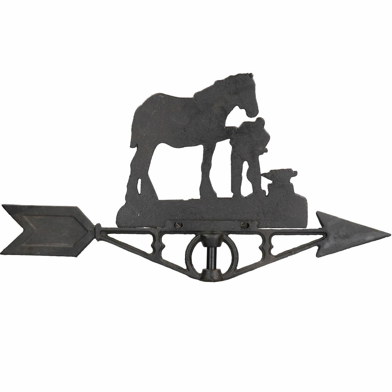 Horse / Mare Farrier Weather Vane Vain Ridge Mount House Roof Cast Iron Shoe