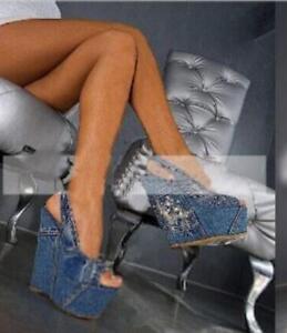 4d7a8e508 Womens Denim Peep Toe Platform Wedge Super High Heeled ...