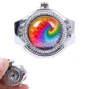 Woman-Nice-Rainbow-Color-Elastic-Quartz-Finger-Open-Ring-Watch-Funny-Cute-ZON