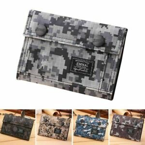 Men-Teenage-Boy-Camouflage-Flap-Wallet-Oxford-Tri-fold-Zip-Coin-Purse-Novelty-zs