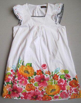 Catimini Girls 14 Yrs White Floral Embroidered Dress EUC 156 cm Red Orange