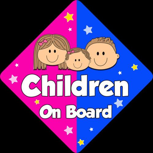 3 Niños Bebé a bordo de ventana de coche señal non Personalizado Nuevo Pink//blue