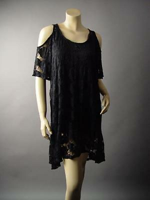 Black Lace Open Cold Shoulder Ruffle Romantic Goth Party 217 mv Dress XL 2XL 3XL