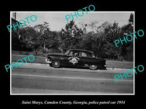 OLD-LARGE-HISTORIC-PHOTO-OF-SAINT-MARYS-GEORGIA-THE-POLICE-DEPARTMENT-CAR-1954