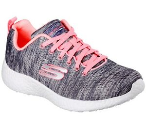 SKECHERS Sport Burst Influence Womens Grey Running Shoes Trainers [158o]