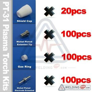 Plasma-Extended-Electrode-Tips-Nickel-Plated-for-PT31-LG-40-Cutting-Torch-Pkg320