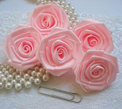 """R0035S 2/"""" Shocking Pink Satin Polyester Ruban Large roses-Lots 12 pcs"""