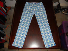 Men's PUMA Dry Cell Flat Front Plaid Golf Pants Size 30W x 32L Blue