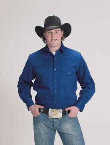 Long Sleeve 5XL Western Express Mens ROYAL BLUE RETRO WESTERN Shirt NEW