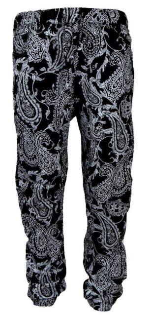 New Access Men's Black Bandana Paisley Print Drop Crotch Twill Cotton Joggers