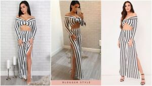Womens-Stripe-Tie-Bardot-Crop-Top-Split-Wide-Flare-Leg-Trousers-Ladies-Co-Ord-UK