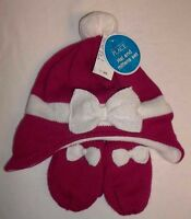 Childrens Place Red & White Silver Sparkle Knit Hat & Mittens Medium 4t/5t Nwts