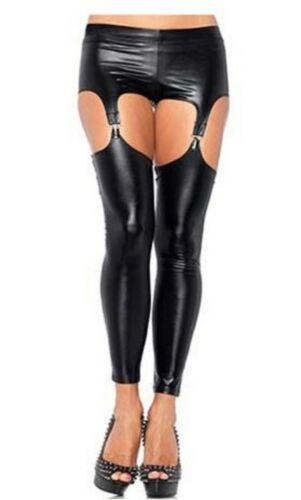 Look Boy Shorts Suspender Belt Silver Clasps Detachable Leggings Faux Latex