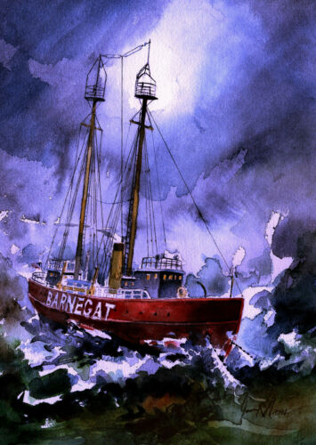Lightship Barnegat 1930s James Mann Art Prints Midnight storm off Jersey Shore