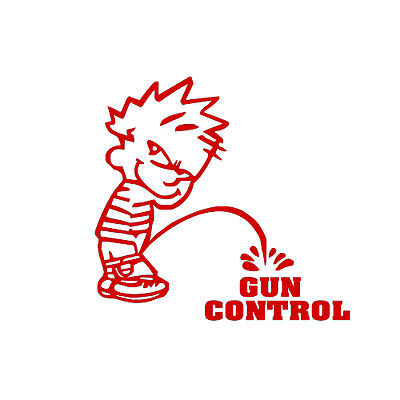 Calvin Piss Pee On Gun Control Funny Decal Sticker For