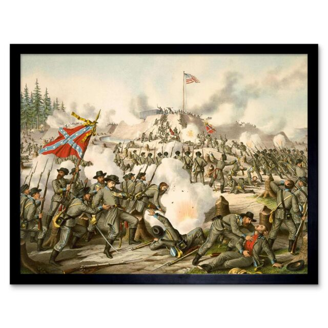 War American Civil Battle Franklin Confederate Framed Art Print 12x16 Inch