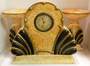 Vintage amc belgium large art deco mantle set clock candleholders very - Deco vintage belgique ...