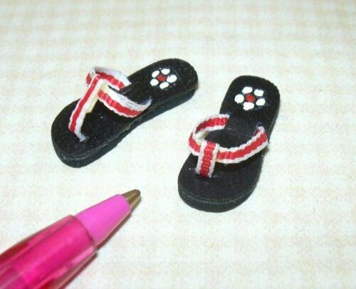 "Miniature /""Prestige Leather/"" Red//White Leather Flip-Flops DOLLHOUSE 1:12"