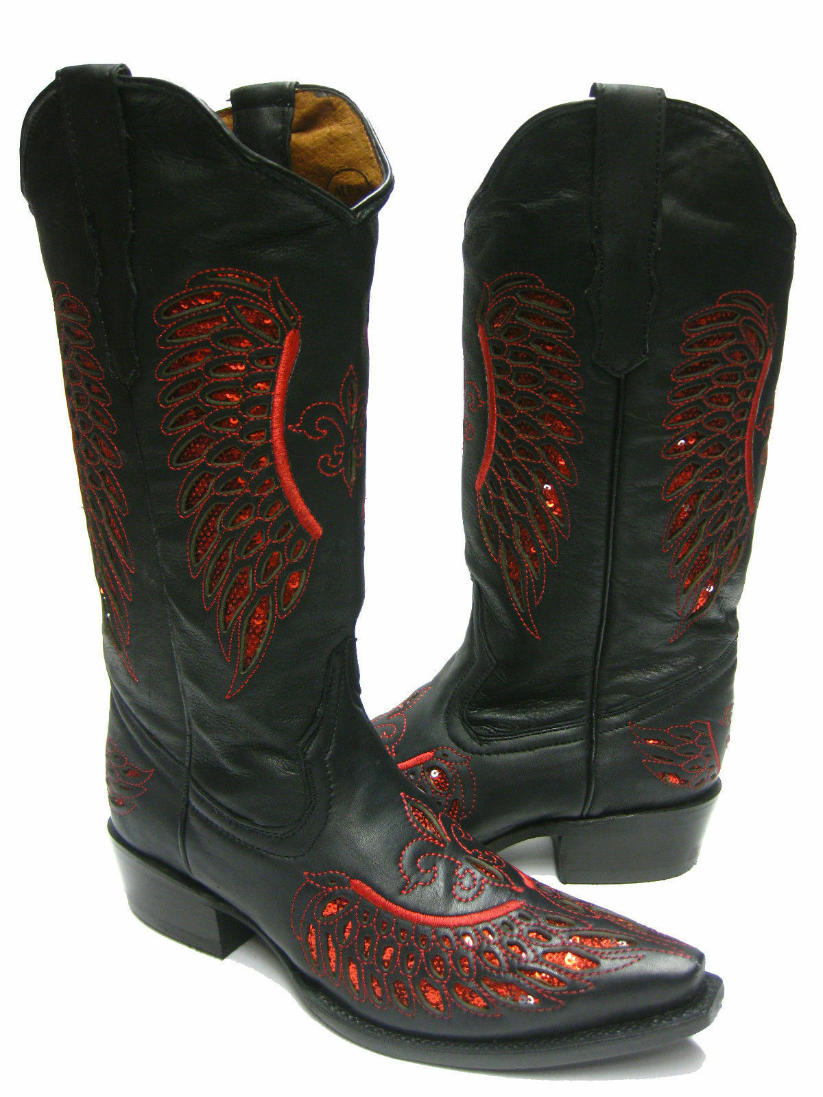 Women's Black Flower Inlay Wings Red Sequins Leather Cowboy Boots Snip Toe
