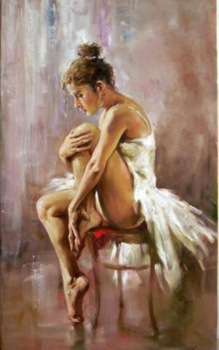 Charming Oil painting portrait beautiful young ballet girl Ballerina have a rest