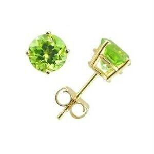 New-14K-Yellow-Gold-Over-Sterling-Silver-Peridot-4mm-Round-Stud-Earrings-925