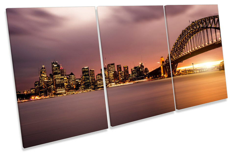Sunset Sydney Harbour Skyline  CANVAS WALL ART TRIPLE Print Picture