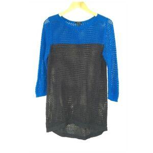 Apt 9 Blue Color Block Open Stitch Sweater Women Size Medium Casual Classic