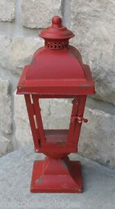 Image Is Loading Farmhouse Antique Red Lantern Candle Holder Primitive French
