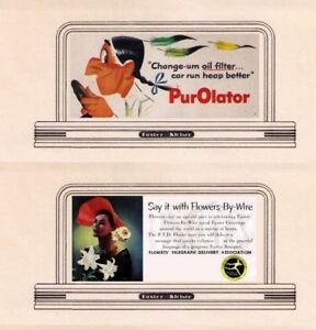 Two-billboard-signs-86-HO-or-OO-scale-PUROLATER-Flowers-by-Western-Union