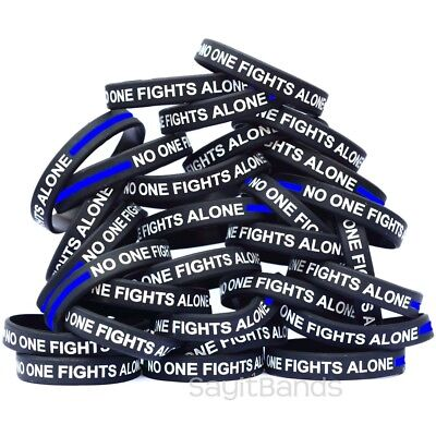 Black Bracelets White Debossed Text 100 No One Fights Alone Wristbands